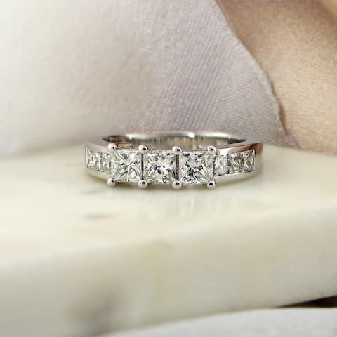 Auriya 14k Gold 1ctw Princess-cut 3-Stone Diamond Engagement Ring
