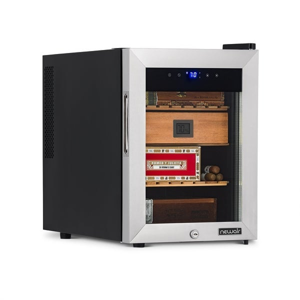 NewAir 250 Count Electric Cigar Humidor Wineador in Stainless Steel with Heating and Cooling. Opens flyout.