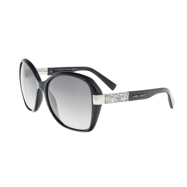 Shop Jimmy Choo Alana S 0D28 Shiny Black Square Sunglasses - 57-17 ... 8ffe061f7e
