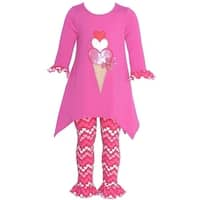 Baby Girls Fuchsia Icecream Heart Applique 2 Pc Legging Set 0-3M