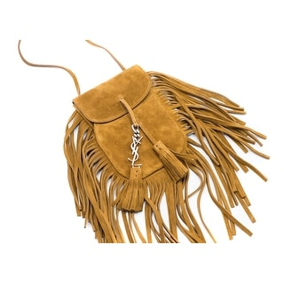 Saint Laurent Women's Brown Toy Anita Fringed Flat Suede Bag - mini