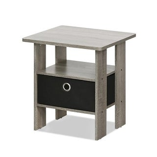 11157GYW-BK End Table Bedroom Night Stand with Bin Drawer,