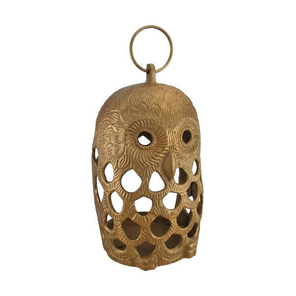 Golden Filigree Owl Cast Aluminum Decorative Candle Lantern - 13 X 7.5 X 7 inches