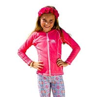 Sun Emporium Girls Coral Pink Long Sleeve Print Zip Jacket