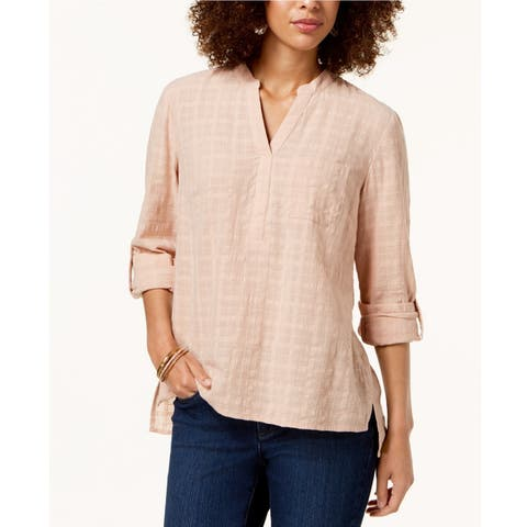 Style & Co women's Windowpane Plaid Textured Roll Tab Top Natural Blush Size 2 Extra Small - Beige - XX-Small