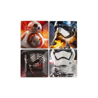 Star Wars Melamine Plate Set - 4 Pieces - Stormtrooper, Kylo Ren, and BB8 - Multi
