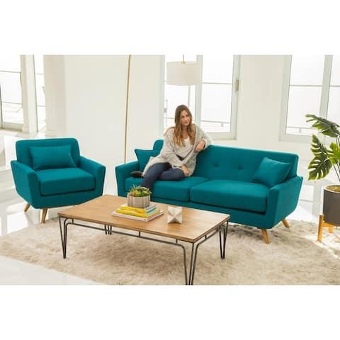 Abbyson Bradley Mid Century Fabric 2 Piece Living Room Set