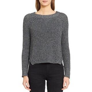 Calvin Klein Jeans Womens Pullover Sweater Metallic Raglan Sleeves
