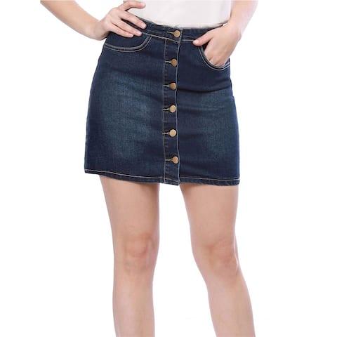 Lady Slant Pockets Button Down Washed Denim Skirt