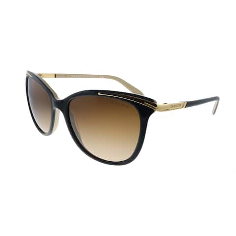Ralph by Ralph Lauren RA 5203 109013 Womens Shiny Black on Nude Gold Frame Brown Gradient Lens Sunglasses