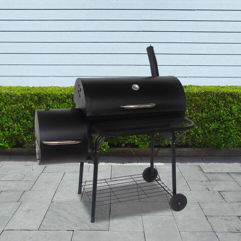 ALEKO Portable Charcoal BBQ Offset Smoker Grill with Side Fire Box