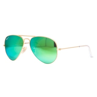 RAY-BAN Aviator RB 3025 Unisex 112/P9 Gold Green Sunglasses - 58mm-14mm-135mm