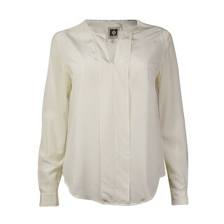 Anne Klein Women's Silk Long Sleeve Pullover Blouse (2, White) - White - 2