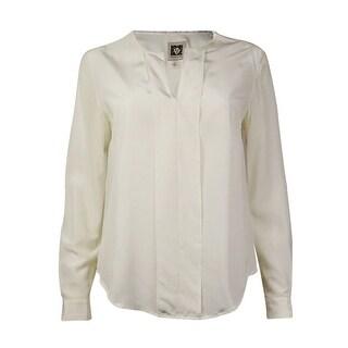 Anne Klein Women's Silk Long Sleeve Pullover Blouse (2, White)