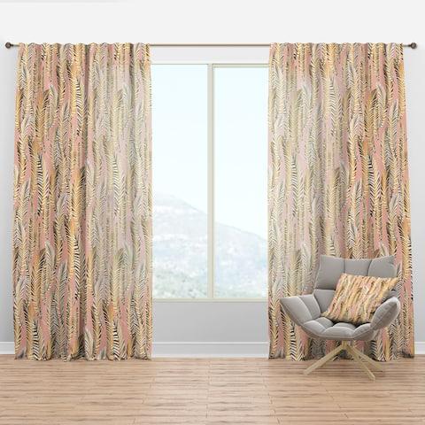 Designart 'Golden Palm Leaves I' Mid-Century Modern Curtain Panel