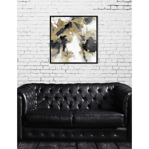 Oliver Gal 'Explosive Shade White and Gold' Abstract Framed Wall Art