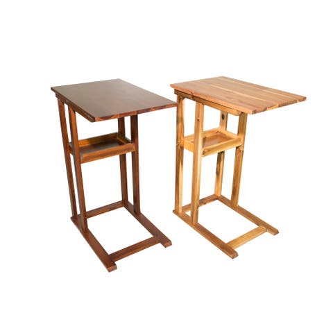 Solid Acacia Wood C Table With Storage Tray
