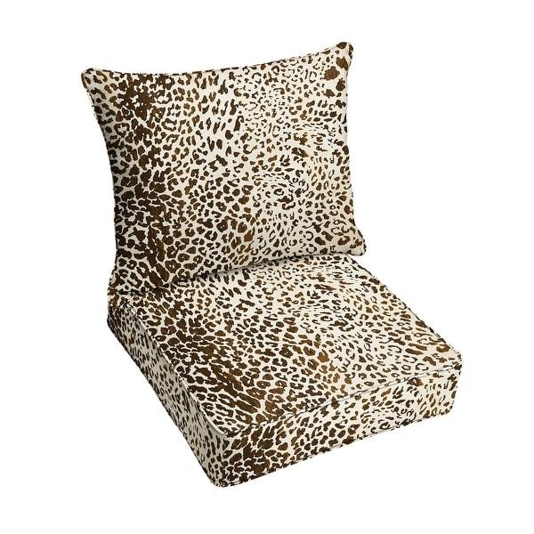 Sunbrella Tan Leopard Indoor/Outdoor Pillow and Cushion Set, Corded