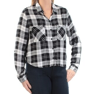 POLLY & ESTHER $19 Womens New 1273 Black Plaid Pocketed Top L Juniors B+B