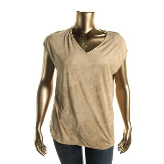 Studio M Womens Faux Suede Perforated Casual Top - XL