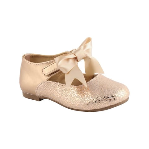 Baby Deer Girls Rose Gold Metallic Foil Bow First Steps Mary Janes