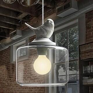 Loft adjustable white pendant lamp, white resin bird hand blown clear glass pendant light fixture