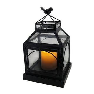 Indoor/Outdoor Decorative Glass Lantern w/Bird & Flameless Candle - Black