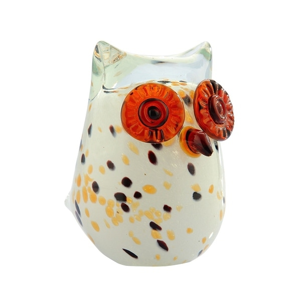 "4.5"" White and Orange Decorative Owl Glass Figurine - N/A"