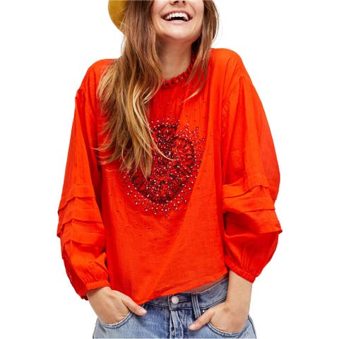 Free People Womens Heart of Gold Knit Blouse