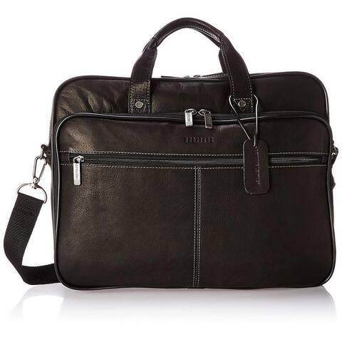 Heritage Travelware 16-inch Laptop & Tablet Full-Grain Colombian Leather Portfolio Dual Compartment Business Briefcase