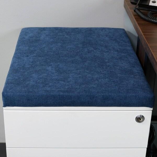 CASL Brands Mobile Pedestal Steel File Cabinet Cushion Seat - Magnetic - Blue