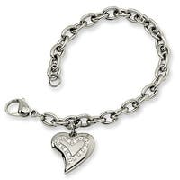 Chisel Stainless Steel CZ Heart Charm Fancy Bracelet