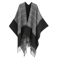 QZUnique Plaid Tassel Poncho Cape Sweater Coat Cardigan Shawl Wrap