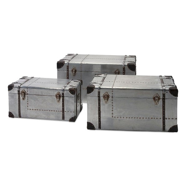 Set of 3 Denali Aviator Aluminum Storage Trunks with Faux Leather and Rivet Accents 32.35   sc 1 st  Overstock.com & Shop Set of 3 Denali Aviator Aluminum Storage Trunks with Faux ...