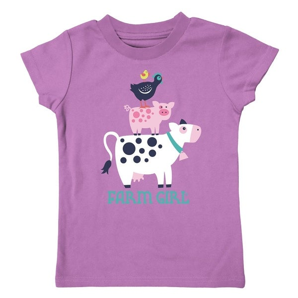 Farm Girl Western Shirt Girls Farm Animal S/S Orchid