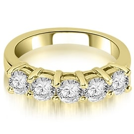 1.25 cttw. 14K Yellow Gold Prong Set Round Cut Diamond Wedding Band