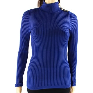 INC NEW Blue Womens Size Large L Button-Detail Ribbed Mock-Neck Sweater