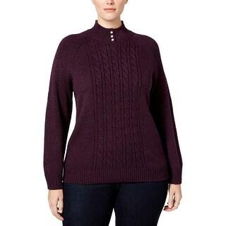 Karen Scott Womens Plus Mock Turtleneck Sweater Cable Knit Textured