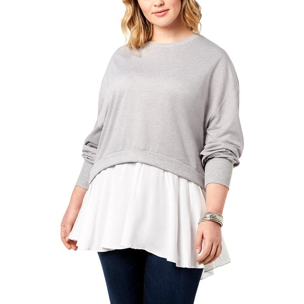 Say What? Womens Plus Crewneck Sweater Layered Long Sleeves