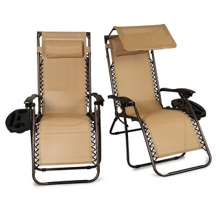 Belleze 2-Pack Zero Gravity Patio Lounge Chairs Backyard Recliner Canopy Shade w/ Utility Tray