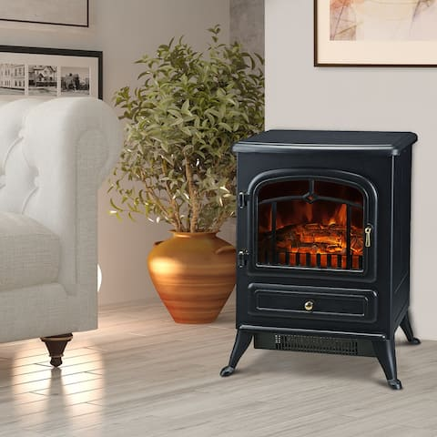 HOMCOM Freestanding Electric Fireplace with Realistic LED Log Flames