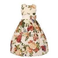 b61225748 Little Girls Burgundy Floral Print Bow Attached Flower Girl Dress 2T-6
