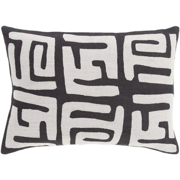 "13"" x 19"" Tribal Rhythm Jet Black and Fog Gray Decorative Throw Pillow"