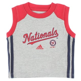 Adidas Baby Boys Washington Nationals MLB Base Hit T Shirt Grey - grey/red/navy blue - 12M