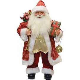 """24.5"""" Red and Gold Santa Claus with Gifts Christmas Tabletop Decoration"""