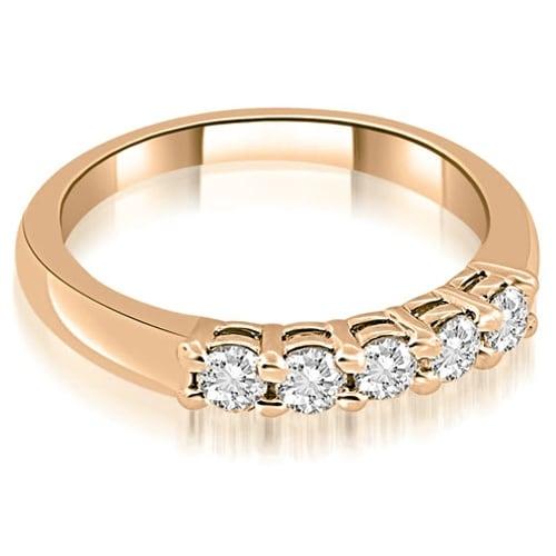 0.50 cttw. 14K Rose Gold Classic Basket Prong Round Cut Diamond Wedding Band