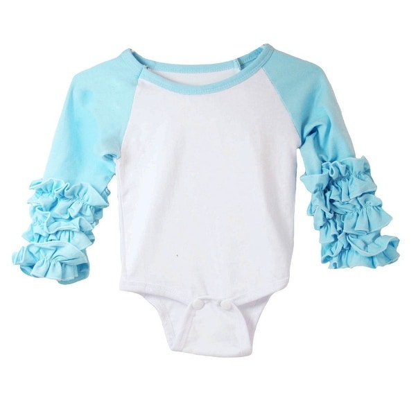 Baby Girls Blue White Ruffle Cuff Crew Neck Long Sleeve Bodysuit 0-3M