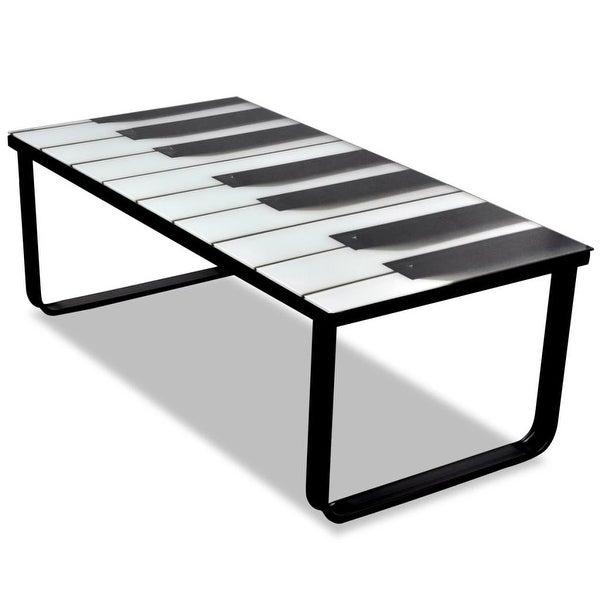 vidaXL Coffee Table with Piano Printing Glass Top