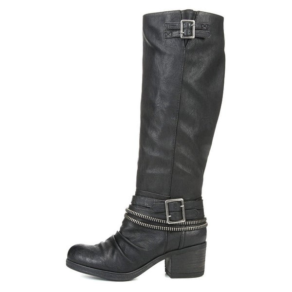 Carlos by Carlos Santana Womens Candace Almond Toe Knee High Riding Boots