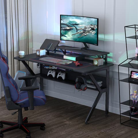 47 inch Ergonomic K-Shape Gaming Desk with Monitor Stand
